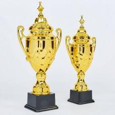 Кубок спортивный с ручками и крышкой SPARTA C-1337B (пластик, металл, h-62см, b-29см, d чаши-18см, золото)