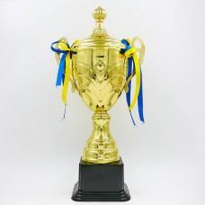 Кубок спортивный с ручками и крышкой TRUST C-4067C (металл, пластик, h-38см, b-20см, d чаши-см, золото)