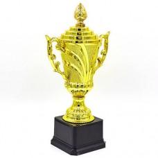 Кубок спортивный с ручками и крышкой OMEGA C-679B (пластик, h-27см, b-14см, d чаши-8см, золото)