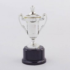 Кубок спортивный с ручками и крышкой STAR C-855 (металл, пластик, h-17см, b-8см, d чаши-5см,золото, серебро)