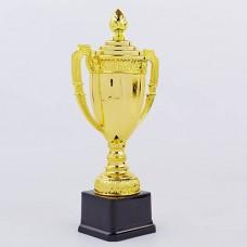 Кубок спортивный с ручками и крышкой CLASSIC C-897C (пластик, h-36см, b-19,5см,d чаши-19,5см, золото)