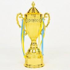 Кубок спортивный с ручками и крышкой CARVED QY078B (металл, h-44см, b-21см, d чаши-11см, золото)