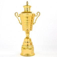 Кубок спортивный с ручками и крышкой JOY XB107A (металл, h-53см, b-26см, d чаши-16см, золото)