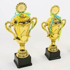 Кубок спортивный с ручками, крышкой и местом под жетон LUCK YK082A (металл, пластик, h-44см, b-21см, d чаши-см, золото)