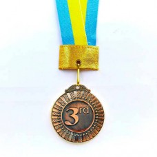 Медаль спортивная с лентой FLASH d-5см C-2516 место 3-бронза (металл, d-5см, 36,7g)