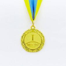 Медаль спортивная с лентой STAR d-4,5см C-2940 (металл, d-4,5см, 20g золото, серебро, бронза)