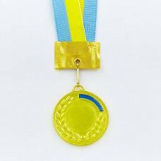 Заготовка медали спортивной с лентой UKRAINE d-5см с украинской символикой C-3241 (1-золото, 2-серебро, 3-бронза)