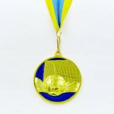 Медаль спортивная с лентой Футбол d-6,5см C-3975-1 место 1-золото (металл, d-6,5см, 60g)