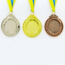 Заготовка медали спортивной с лентой HIT d-6,5см C-4332 (металл, 40g, 1-золото, 2-серебро, 3-бронза)