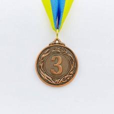 Медаль спортивная с лентой GLORY d-4,5см C-4335-3 место 3-бронза (металл, d-4,5см, 18g)