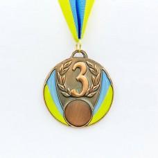 Медаль спортивная с лентой UKRAINE d-6,5см с укр. символикой C-4339 (металл, 40g золото, серебро, бронза)