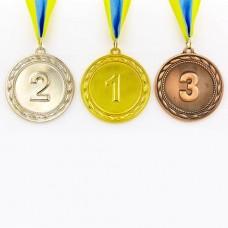 Медаль спортивная с лентой ABILITY d-6,5см C-4841 (металл, 38g, 1-золото, 2-серебро, 3-бронза)