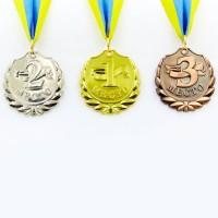 Медаль спортивная с лентой BEST d-5см C-4843 (металл, 25g, 1-золото, 2-серебро, 3-бронза)