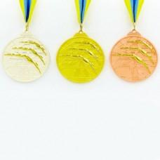 Медаль спортивная с лентой двухцветная d-6,5см Плавание C-4848 (металл, покрытие 2 тона,56g золото, серебро, бронза)