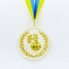 Медаль спортивная с лентой двухцветная d-6,5см Волейбол C-4850 (металл, покрытие 2 тона,56g золото, серебро, бронза)