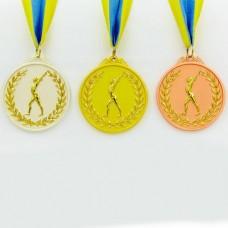 Медаль спортивная с лентой двухцветная d-6,5см Гимнастика C-4851 место (металл, покр. 2 тона, 56g золото, серебро, бронза)