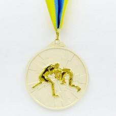 Медаль спортивная с лентой двухцветная d-6,5см Борьба C-4852 (металл, покрытие 2 тона, 56g золото, серебро, бронза)