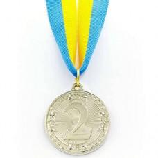 Медаль спортивная с лентой WOULD d-4,5см C-6403 (металл, 1-золото,2-серебро,3- бронза,d-4,5см, 20g)