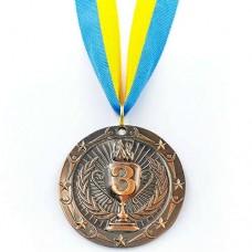 Медаль спортивная с лентой BOWL d-6,5см C-6407 (металл, d-6,5см, 38g 1-золото,2-серебро,3-бронза)