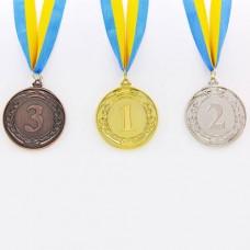 Медаль спортивная с лентой LIDER d-6,5см C-6862 (металл, d-6,5см, 38g, 1-золото, 2-серебро, 3-бронза)