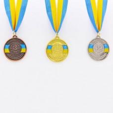 Медаль спортивная с лентой UKRAINE d-5см C-6865 (металл, d-5см, 20g, 1-золото, 2-серебро, 3-бронза)