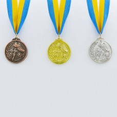 Медаль спортивная с лентой Бег d-5см C-7014 (металл, d-5см, 25g, 1-золото, 2-серебро, 3-бронза)