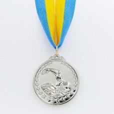 Медаль спортивная с лентой Плавание d-5см C-7015 (металл, d-5см, 25g, 1-золото, 2-серебро, 3-бронза)