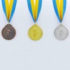 Медаль спортивная с лентой Бильярд d-5см C-7017 (металл, d-5см, 25g, 1-золото, 2-серебро, 3-бронза)