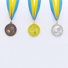 Медаль спортивная с лентой Баскетбол d-5см C-7019 (металл, d-5см, 25g, 1-золото, 2-серебро, 3-бронза)