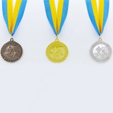 Медаль спортивная с лентой Футбол d-5см C-7020 (металл, d-5см, 25g, 1-золото, 2-серебро, 3-бронза)