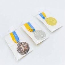 Медаль спортивная с лентой Гандбол d-5см C-7022 (металл, d-5см, 25g, 1-золото, 2-серебро, 3-бронза)