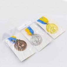 Медаль спортивная с лентой Футбол d-5см C-7025 (металл, d-5см, 25g, 1-золото, 2-серебро, 3-бронза)