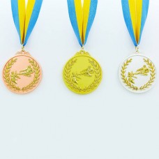 Медаль спортивная с лентой двухцветная d-6,5см Каратэ C-7026 место (металл,покр. 2тона, 56g, 1-золото, 2-серебро, 3-бронза)