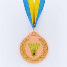 Медаль спортивная с лентой двухцветная d-6,5см Бадминтон C-7027 место (металл,покр. 2тона, 56g, 1-золото, 2-серебро, 3-бронза)