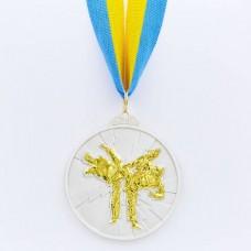 Медаль спортивная с лентой двухцветная d-6,5см Тхэквондо C-7029 место (металл,покр. 2тона, 56g, 1-золото, 2-серебро, 3-бронза)