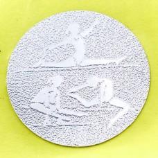 Наклейка (жетон) на медаль, кубок d-2,5см Худ. гимнастика 25-0073 (1,2,3 место,1уп-120шт,цена за1шт)
