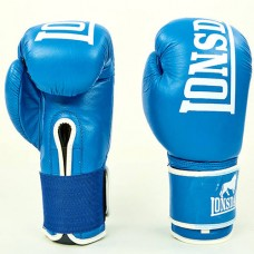 Боксерские перчатки кожаные на липучке LONSDALE MA-6760-B (р-р 10-12oz, синий)