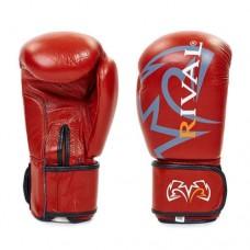 Боксёрские перчатки кожаные на липучке  RIV MA-3307-BR
