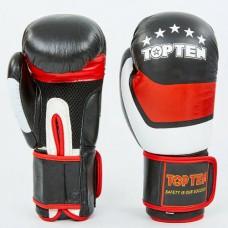 Боксерские перчатки кожаные на липучке TOP TEN MA-6752-BK (р-р 10-14oz, черный-красный-белый)