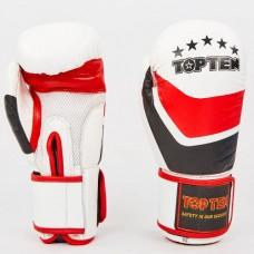 Боксерские перчатки кожаные на липучке TOP TEN MA-6752-W (р-р 10-12oz, белый-красный-черный)
