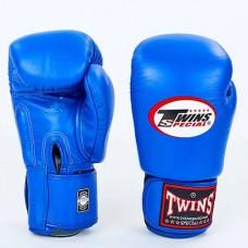 Боксерские перчатки кожаные на липучке TWINS BGVL-3-BU
