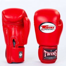 Боксерские перчатки кожаные на липучке TWINS BGVL-3-RD