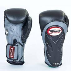 Боксерские перчатки кожаные на липучке TWINS BGVL-6-BK