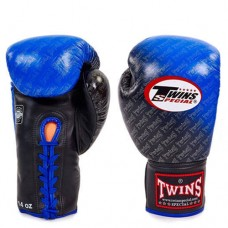 Боксерские перчатки кожаные на шнуровке TWINS FBGLL-TW1-BU