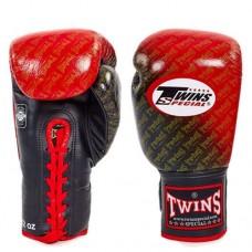 Боксерские перчатки кожаные на шнуровке TWINS FBGLL-TW1-RD