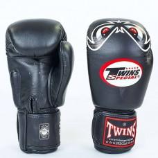 Боксерские перчатки кожаные на липучке TWINS FBGV-25-BK