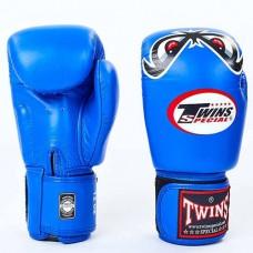 Боксерские перчатки кожаные на липучке TWINS FBGV-25-BU