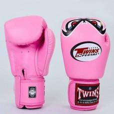 Боксерские перчатки кожаные на липучке TWINS FBGV-25-PN