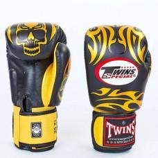 Боксерские перчатки кожаные на липучке TWINS FBGV-31-BK