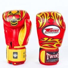 Боксерские перчатки кожаные на липучке TWINS FBGV-31-RD